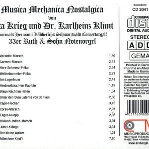 Drehorgel-Shop: Musica Mechanica Nostalgica - von Uta Krieg und Dr. Karlheiz Klimt (CD2041)