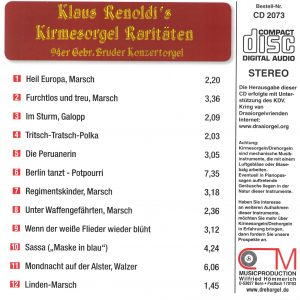 Drehorgel-Shop: Klaus Renoldi's Kirmesorgel Raritäten (CD2073)