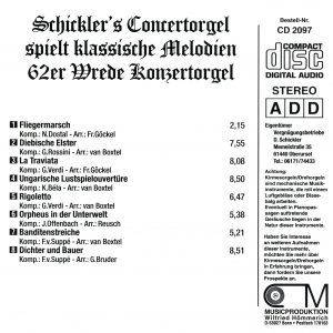 Drehorgel-Shop: Schickler's Concertorgel spiel klassische Melodien (CD2097)