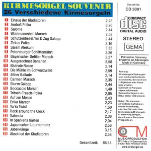 Drehorgel-Shop: Kirmesorgel Souvenir (CD3001)