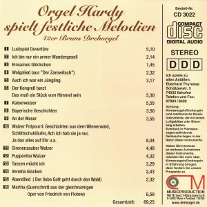 Drehorgel-Shop: Orgel Hardy spielt festliche Melodien (CD3022)