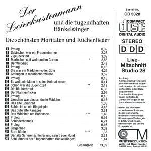Drehorgel-Shop: Der Leierkastenmann und die tugendhaften Bänkelsänger --- Die schönsten Moritaten und Küchenlieder (CD3028)